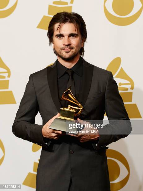 Singer Juanes winner of Best Latin Pop Album poses in the press room at the 55th Annual GRAMMY Awards at Staples Center on February 10 2013 in Los...