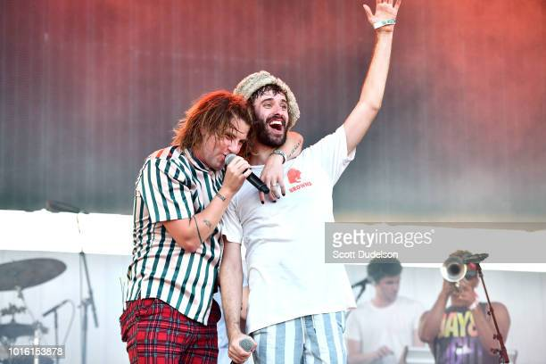 Singer Judah Akers of the band Judah the Lion and Jack Met of the band AJR perform onstage during the ALT 987 Summer Camp Concert at Queen Mary...