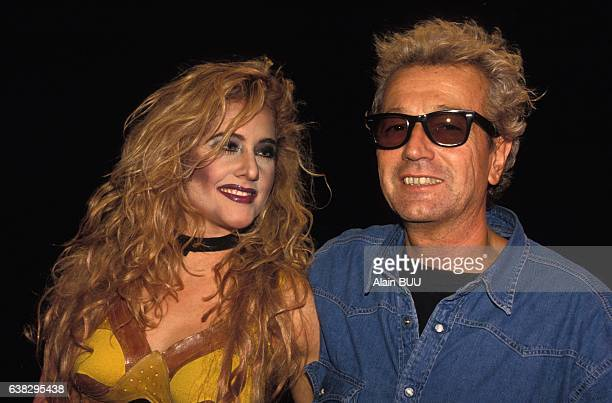 Singer Judith Bérard with director Luc Plamondon during the musical Starmania at the théâtre Mogador staged by Lewis Furey on September 28 1993 in...