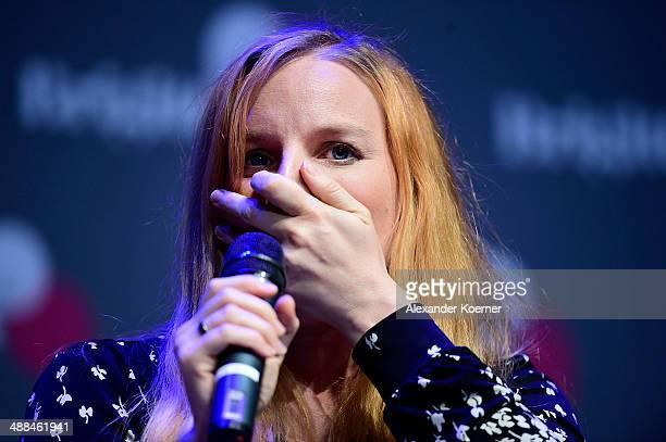 Singer Judith Holofernes gestures during the 'Brigitte Live Die Stunden der Frauen' at Hamburger Kammerspiele on May 6 2014 in Hamburg Germany