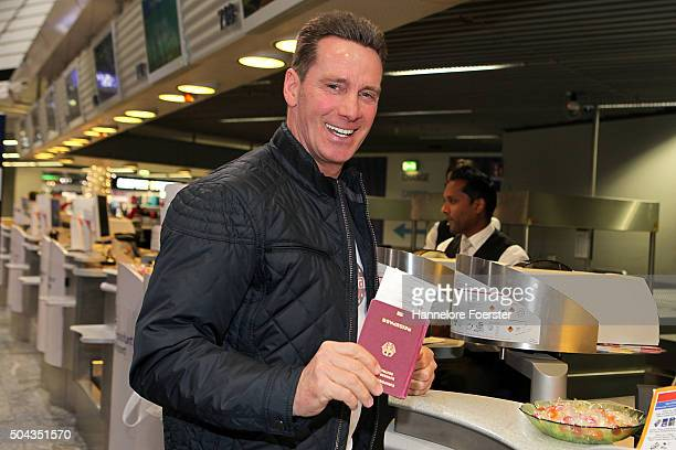 Singer Juergen Milski poses before boarding the flight to Australia as a participant in the 2016 RTLTVShow 'Dschungelcamp ' I'm a celebrity get me...