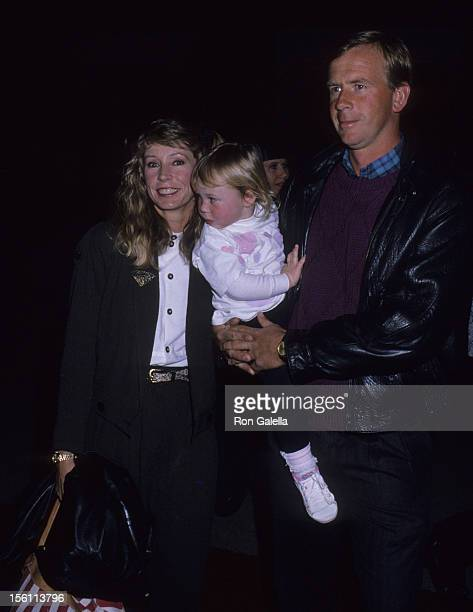 Singer Juice Newton husband Tom Goodspeed and daughter Jessica Goodspeed attend 'America Film' Celebrity Polo Matches on March 30 1989 at the...