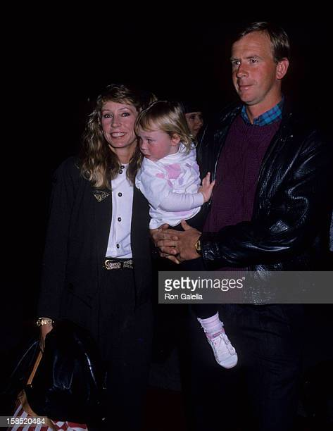 Singer Juice Newton husband Tom Goodspeed and daughter Jessica Goodspeed attend America Film Celebrity Polo Matches on March 30 1989 at the...