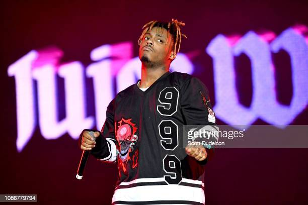 Singer JUICE WRLD performs onstage during day one of the Rolling Loud Festival at Banc of California Stadium on December 14 2018 in Los Angeles...