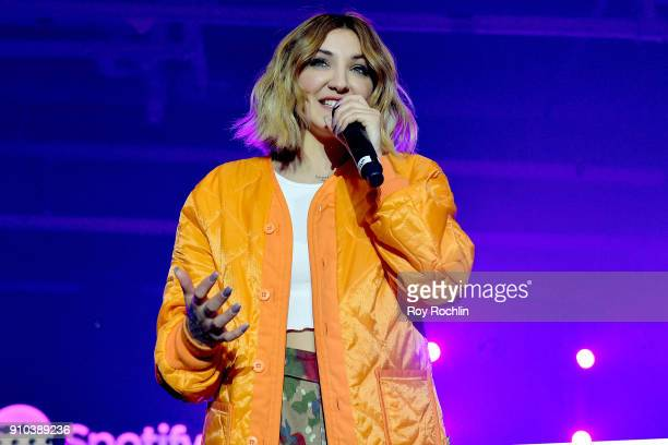 Singer Julia Michaels performs on stage at Spotify's Best New Artist Party at Skylight Clarkson on January 25 2018 in New York City