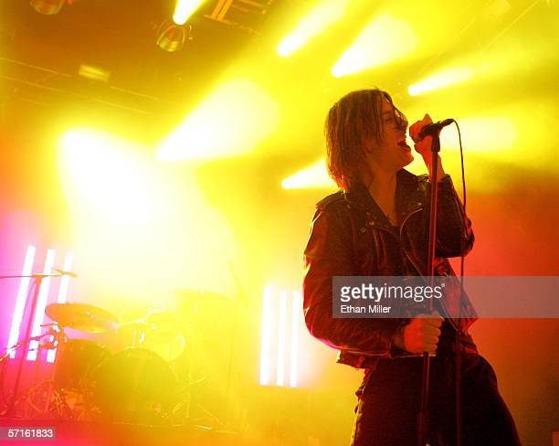 Singer Julian Casablancas of The Strokes perform during a soldout show at The Joint inside the Hard Rock Hotel Casino March 22 2006 in Las Vegas...