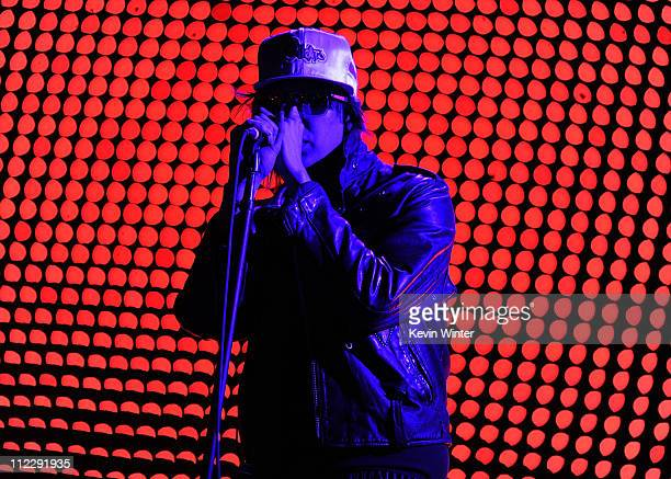 Singer Julian Casablancas of The Strokes performs during Day 3 of the Coachella Valley Music Arts Festival 2011 held at the Empire Polo Club on April...