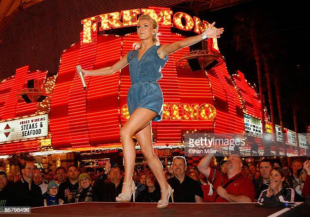 Singer Julianne Hough performs during the Academy of Country Music allstar concert at the Fremont Street Experience on April 3 2009 in Las Vegas...