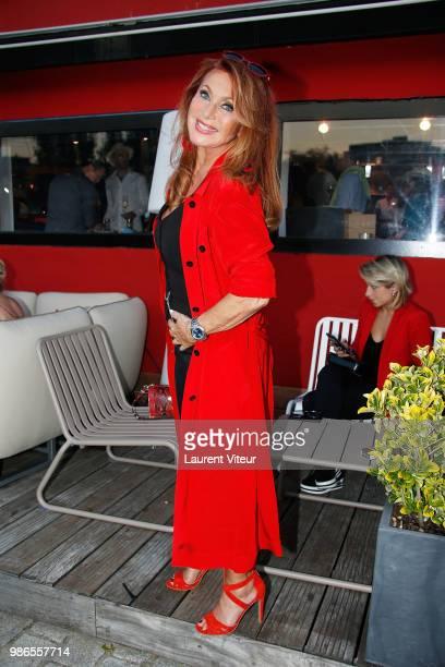 """Singer Julie Pietri attends """"Trophee de la Petanque Gastronomique"""" at Paris Yacht Marina on June 28, 2018 in Paris, France."""