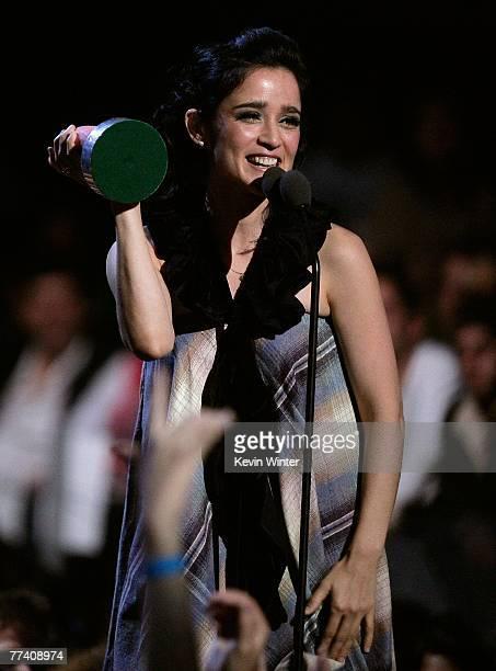 Singer Julieta Venegas accepts an award onstage during the Los Premios MTV Latin America 2007 at the Palacio De Los Deportes October 18, 2007 in...
