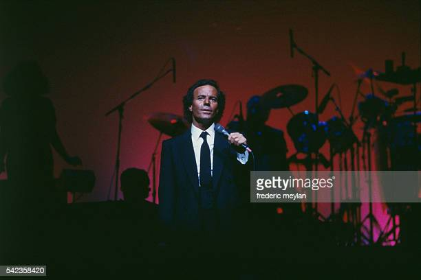 Singer Julio Iglesias on the stage of the Grand Rex concert hall in Paris