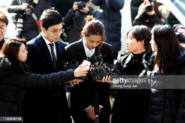 Singer Jung Joonyoung is seen arriving at a Seoul Metropolitan Police Agency on March 14 2019 in Seoul South Korea Jung Joonyoung a South Korean...