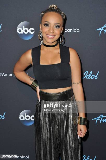 Singer Jurnee arrives at ABC's 'American Idol' show on April 23 2018 in Los Angeles California