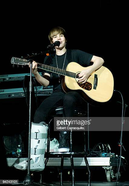 Singer Justin Beiber performs at Q102 Jingle Ball at the Susquehanna Bank Center on December 9 2009 in Camden New Jersey