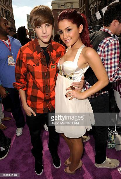 Singer Justin Bieber and actress Ariana Grande attend Variety's 4th Annual Power of Youth event at Paramount Studios on October 24 2010 in Hollywood...