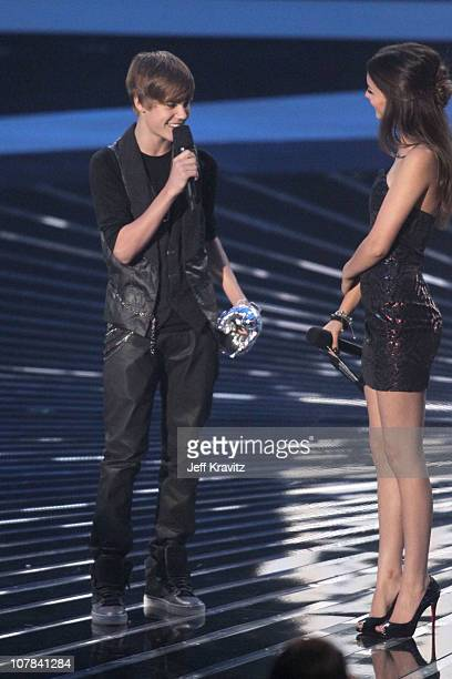 Singer Justin Bieber and actress Victoria Justice onstage at the 2010 MTV Video Music Awards held at Nokia Theatre LA Live on September 12 2010 in...
