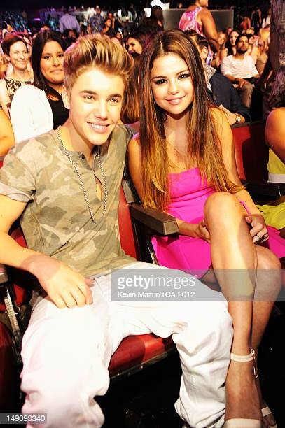 Singer Justin Bieber and actress/singer Selena Gomez attend the 2012 Teen Choice Awards at Gibson Amphitheatre on July 22 2012 in Universal City...