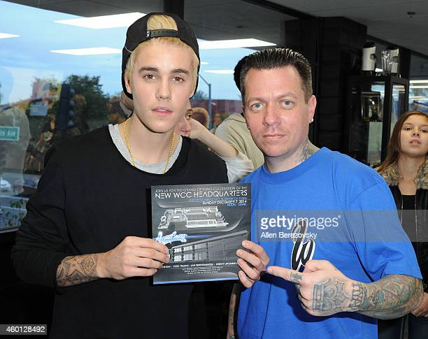 Singer Justin Bieber and founder for West Coast Customs Ryan Friedlinghaus attend the Grand Opening of West Coast Customs Burbank Headquarters at...