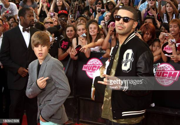 Singer Justin Bieber and Rapper Drake arrive at the 21st Annual MuchMusic Video Awards on June 20 2010 in Toronto Canada
