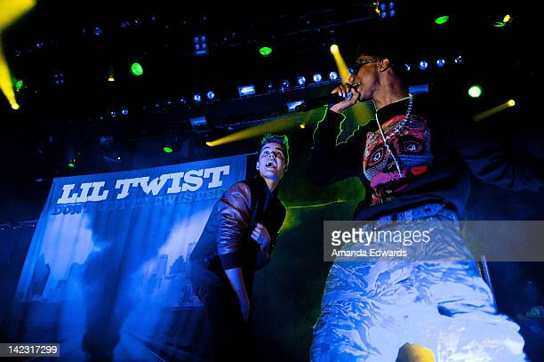 Singer Justin Bieber and rapper Lil Twist open for TYGA at Club Nokia on April 1 2012 in Los Angeles California