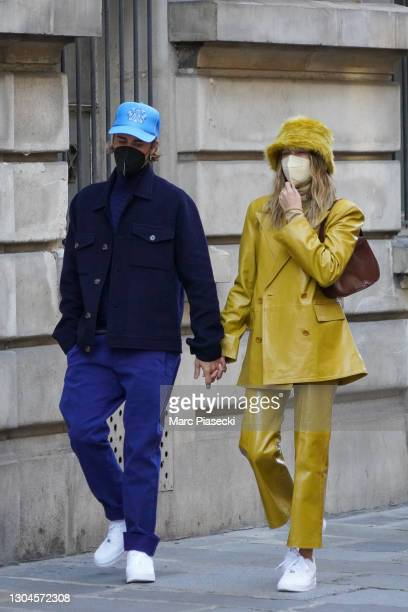 Singer Justin Bieber and wife Hailey Baldwin Bieber are seen strolling near Les Invalides on February 28, 2021 in Paris, France.