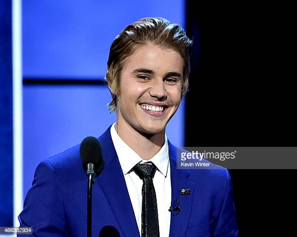 Singer Justin Bieber appears onstage at the Comedy Central Roast of Justin Bieber at Sony Studios on March 14 2015 in Culver City California
