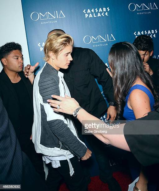Singer Justin Bieber arrives at Omnia Nightclub at Caesars Palace to celebrate his birthday on the nightclub's opening weekend on March 15 2015 in...