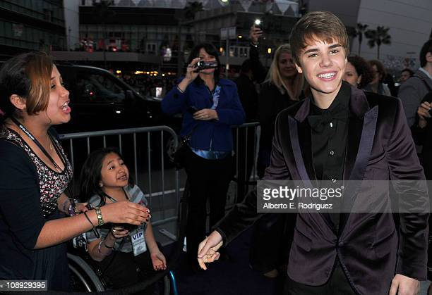 Singer Justin Bieber arrives at the premiere of Paramount Pictures' 'Justin Bieber Never Say Never' held at Nokia Theater LA Live on February 8 2011...