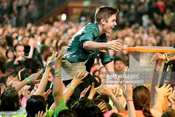 Singer Justin Bieber at Nickelodeon's 25th Annual Kids' Choice Awards held at Galen Center on March 31 2012 in Los Angeles California
