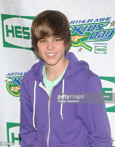 Singer Justin Bieber attends the 2009 Arthur Ashe Kids Day at the USTA Billie Jean King National Tennis Center on August 29 2009 in New York City