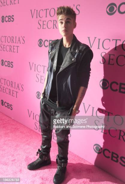 Singer Justin Bieber attends the 2012 Victoria's Secret Fashion Show at the Lexington Avenue Armory on November 7 2012 in New York City