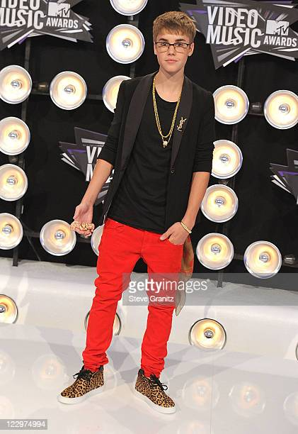 Singer Justin Bieber attends the 28th Annual MTV Video Music Awards at Nokia Theatre LA Live on August 28 2011 in Los Angeles California
