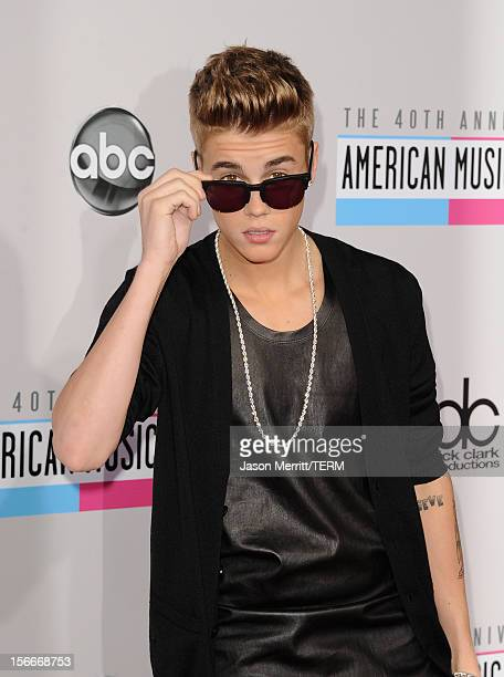 Singer Justin Bieber attends the 40th American Music Awards held at Nokia Theatre LA Live on November 18 2012 in Los Angeles California