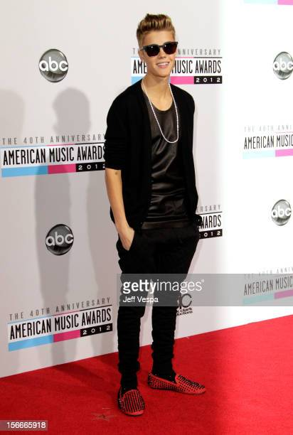 Singer Justin Bieber attends the 40th Anniversary American Music Awards held at Nokia Theatre LA Live on November 18 2012 in Los Angeles California