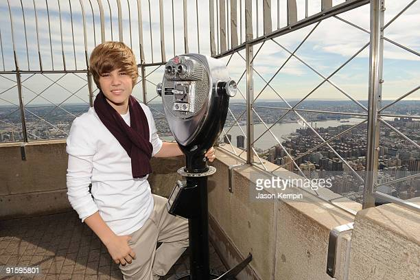 Singer Justin Bieber attends the lighting of the Empire State Building to kickoff Jumpstart's Read For The Record Campaign on October 8 2009 in New...