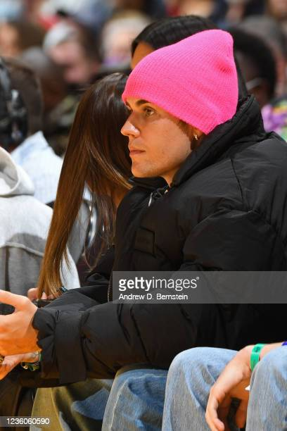 Singer, Justin Bieber attends the Phoenix Suns game against the Los Angeles Lakers on October 22, 2021 at STAPLES Center in Los Angeles, California....