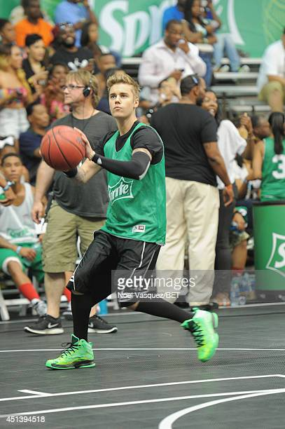 Singer Justin Bieber attends the Sprite Celebrity Basketball Game during the 2014 BET Experience At LA LIVE on June 28 2014 in Los Angeles California