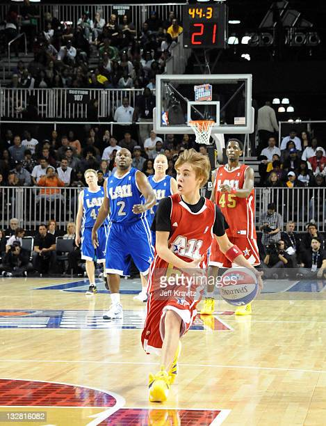 Singer Justin Bieber during the 2011 BBVA NBA AllStar Celebrity Game at Los Angeles Convention Center on February 18 2011 in Los Angeles California