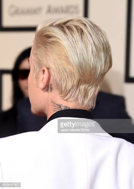 Singer Justin Bieber fashion detail attends The 58th GRAMMY Awards at Staples Center on February 15 2016 in Los Angeles California