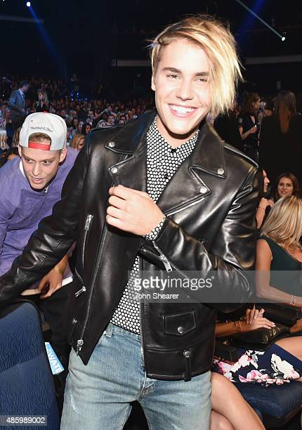 Singer Justin Bieber in the audience during the 2015 MTV Video Music Awards at Microsoft Theater on August 30 2015 in Los Angeles California