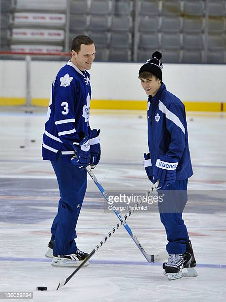 Singer Justin Bieber is home for the Holidays and takes the ice as he skates with Toronto Maple Leaf's Captain Dion Phaneuf at the Air Canada Centre...