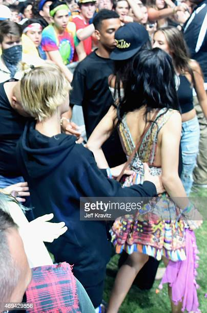 COVERAGE Singer Justin Bieber model Kendall Jenner and Shanina Shaik in the audience during day 2 of the 2015 Coachella Valley Music Arts Festival at...