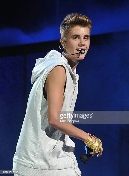 Singer Justin Bieber performs at the Izod Center on November 9, 2012 in East Rutherford, New Jersey.