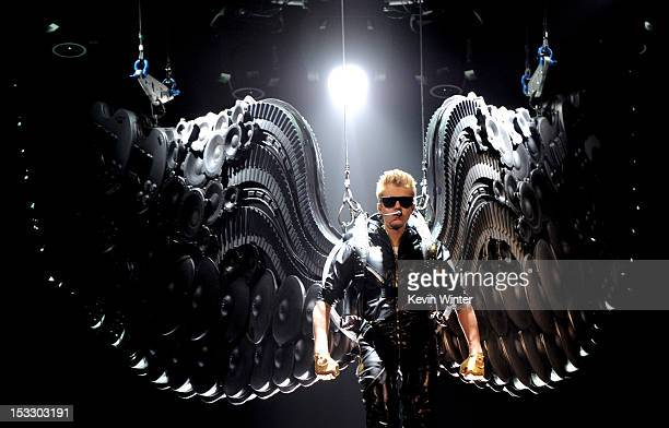 Singer Justin Bieber performs during his Believe tour at The Staples Center on October 2 2012 in Los Angeles California
