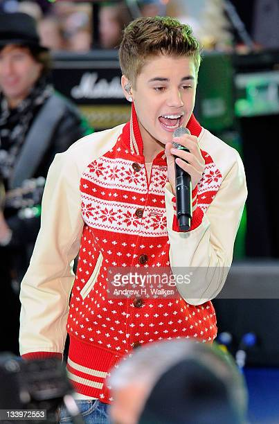 Singer Justin Bieber performs on NBC's Today in the TODAY Plaza on November 23 2011 in New York City