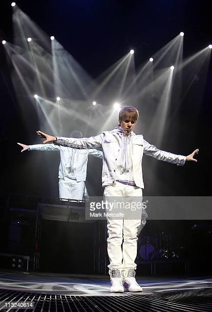 Singer Justin Bieber performs on stage at Acer Arena on April 28 2011 in Sydney Australia