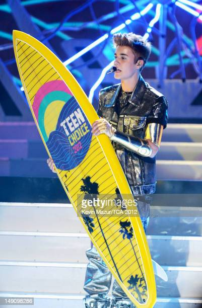 Singer Justin Bieber performs onstage during the 2012 Teen Choice Awards at Gibson Amphitheatre on July 22 2012 in Universal City California