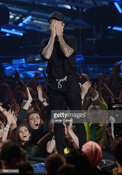 Singer Justin Bieber performs onstage during the 2015 MTV Video Music Awards at Microsoft Theater on August 30 2015 in Los Angeles California