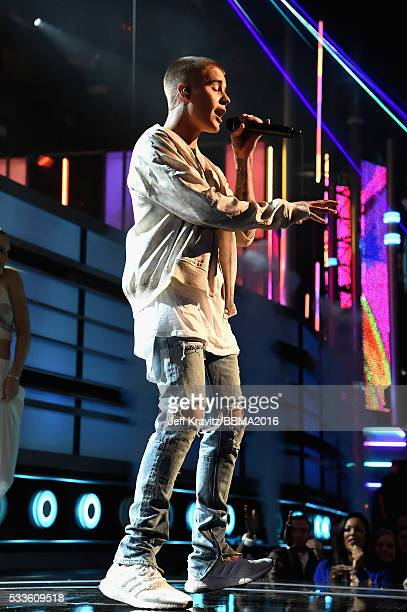 Singer Justin Bieber performs onstage during the 2016 Billboard Music Awards at TMobile Arena on May 22 2016 in Las Vegas Nevada