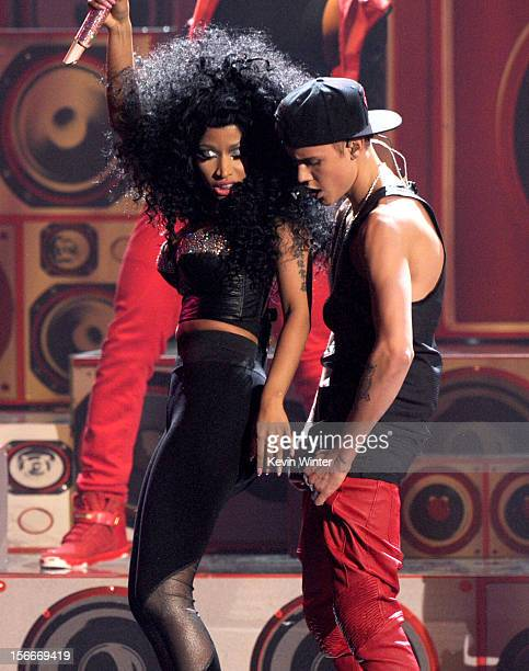 Singer Justin Bieber performs onstage during the 40th American Music Awards held at Nokia Theatre LA Live on November 18 2012 in Los Angeles...